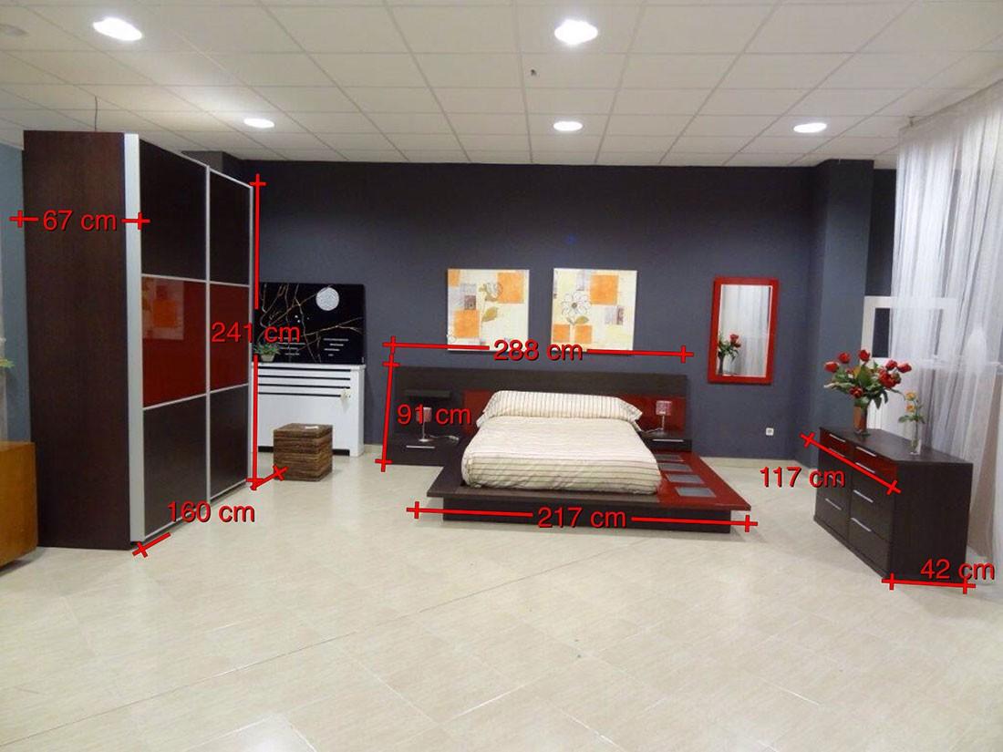 Dormitorio completo madera de roble medidas