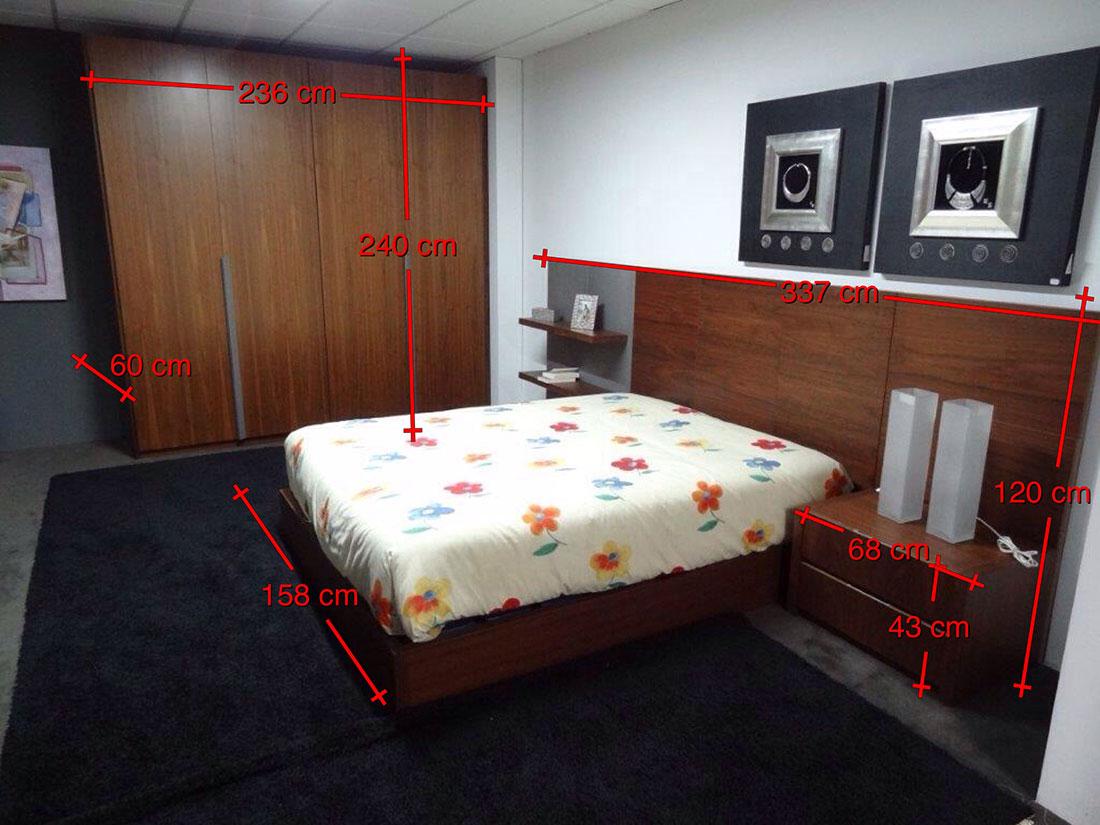 Dormitorio completo madera de nogal y patina blanca medidas