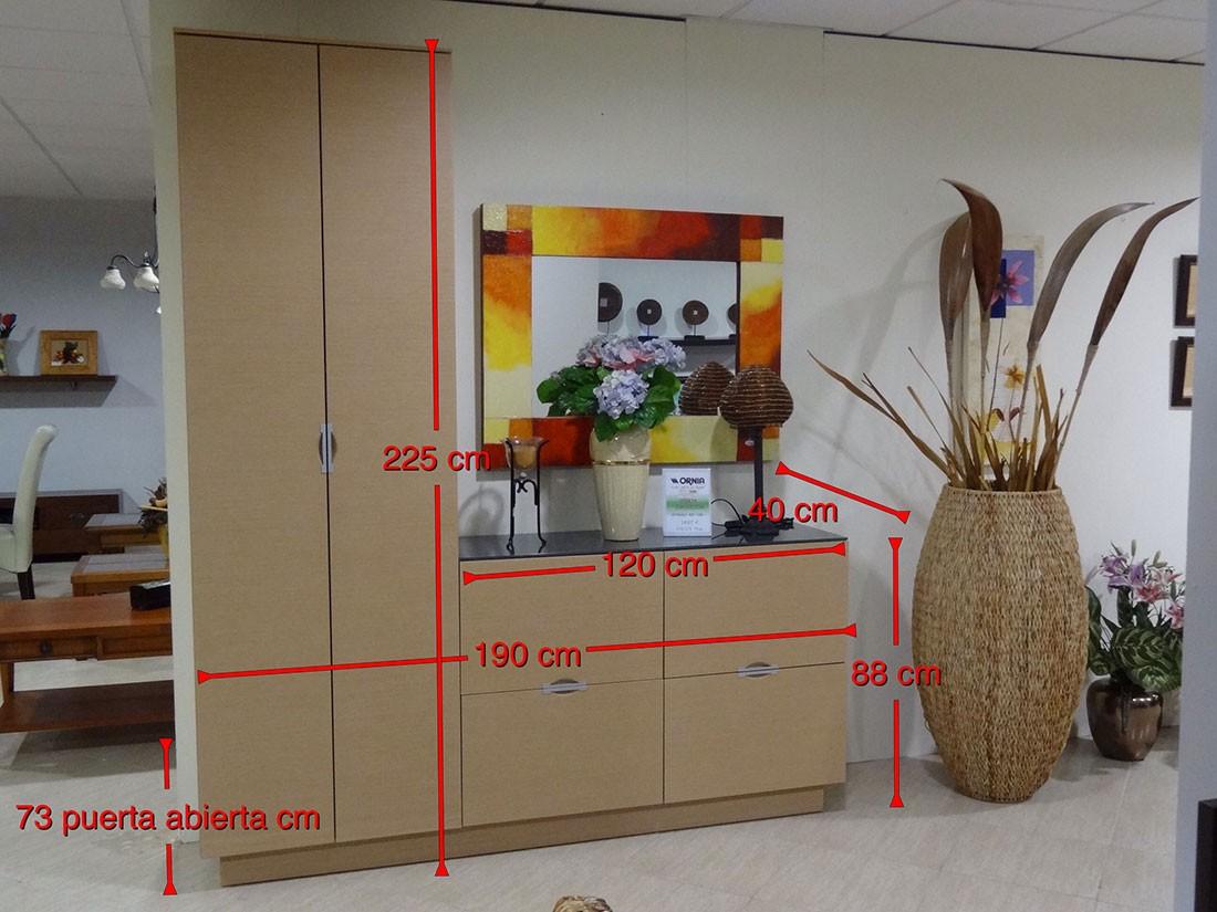 Mueble recibidor en roble natural - medidas