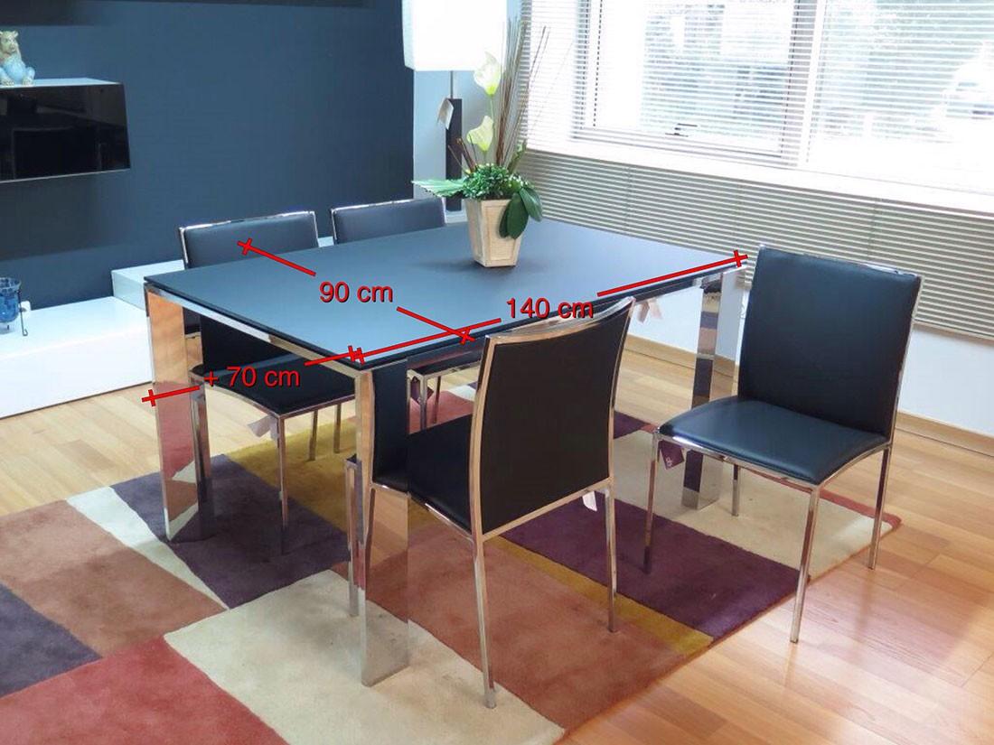 Mesa y sillas metal y cristal negro - medidas