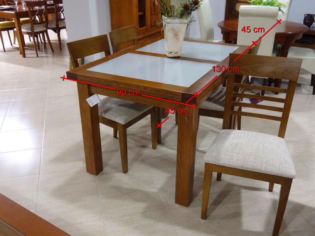 Mesa y sillas de castaño y cristal - medidas