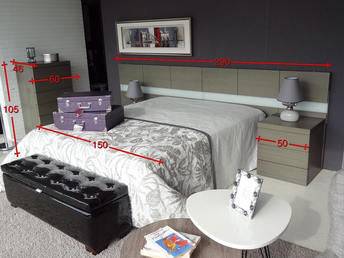 Dormitorio con sinfonier en madera de roble - medidas