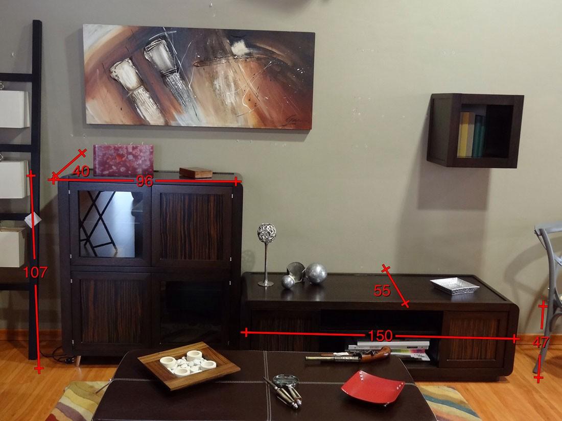 Mueble de salón en roble - medidas